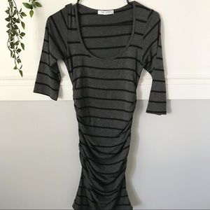 Lilac Clothing Dark Gray Striped Maternity Dress